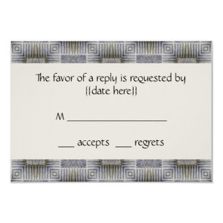 Vintage Wedding, Retro Metallic Squares Stripes 3.5x5 Paper Invitation Card