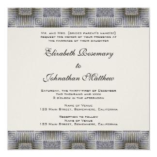 Vintage Wedding, Retro Metallic Squares Stripes Invitation