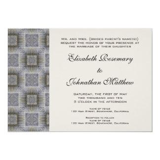 "Vintage Wedding, Retro Metallic Squares Stripes 5"" X 7"" Invitation Card"