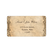 vintage wedding ,return address label