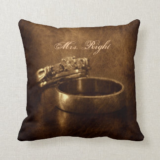 vintage wedding rings rustic engagement party throw pillow