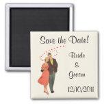 Vintage Wedding Romantic Newlyweds, Save the Date Fridge Magnet