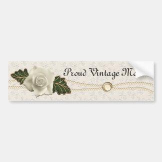 Vintage Wedding Rose Bumper Sticker