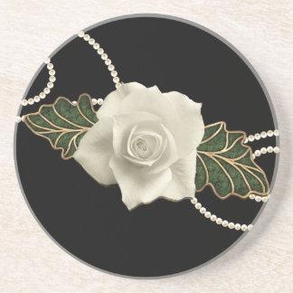 Vintage Wedding Rose Drink Coaster