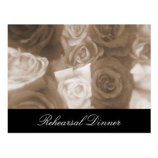 Vintage Wedding Roses Rehearsal Invite Postcard