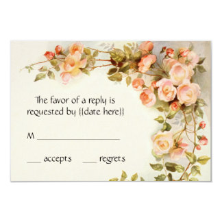 Vintage Wedding RSVP, Antique Pink Roses Flowers Card
