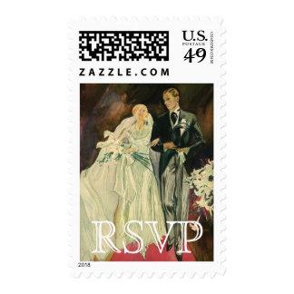 Vintage Wedding RSVP Bride Groom Newlywed Postage Stamp