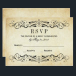 """Vintage Wedding RSVP Cards   Elegant Flourish<br><div class=""""desc"""">Decorative swirls and flourishes frame this elegant vintage inspired wedding response card design. Rustic antique textured background look with black design.  Personalize the custom RSVP text with your reply due date.</div>"""