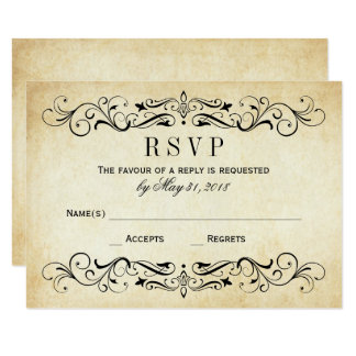 vintage wedding rsvp cards elegant flourish - Wedding Invitations Rsvp