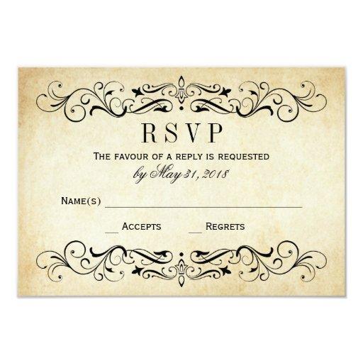 Vintage wedding rsvp cards elegant flourish zazzle for Free rsvp cards