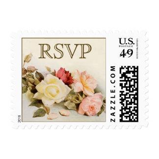 Vintage Wedding RSVP, Garden Roses Flowers Floral Stamp