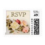 Vintage Wedding RSVP, Garden Roses Flowers Floral Stamps