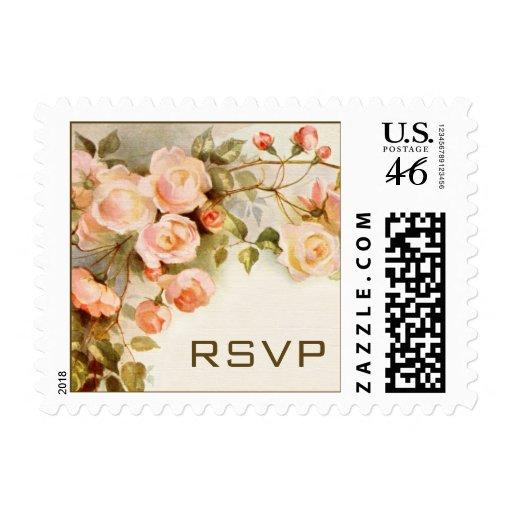 Vintage Wedding RSVP, Pink Rose Flowers Floral Postage Stamps