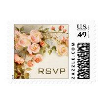 Vintage Wedding RSVP, Pink Rose Flowers Floral Postage