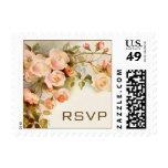 Vintage Wedding RSVP, Pink Rose Flowers Floral Stamps