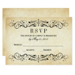 Vintage Wedding RSVP Postcards | Elegant Flourish