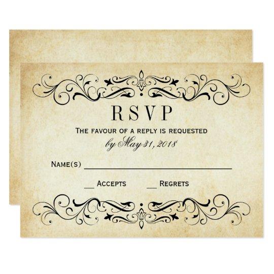 Vintage Wedding RSVP Postcards