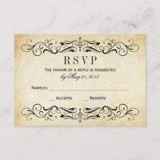 Vintage Wedding RSVP Postcards | Elegant Flourish