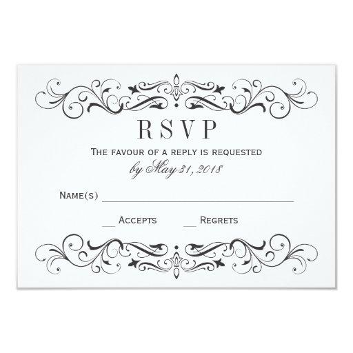 Vintage Wedding RSVP Postcards | Elegant Flourish Invitation