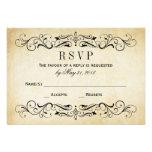Vintage Wedding RSVP Postcards | Elegant Flourish Invitations