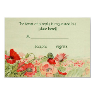 Vintage Wedding RSVP Response, Red Poppy Flowers Card