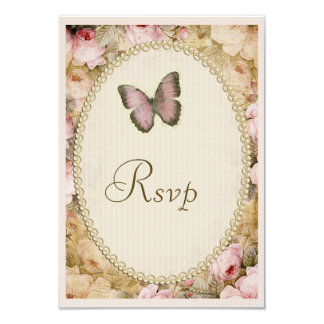 Vintage Wedding Rsvp Roses Butterfly, Music Notes Card