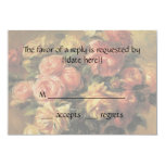 """Vintage Wedding RSVP, Roses in Vase by Renoir 3.5"""" X 5"""" Invitation Card"""