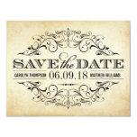 Vintage Wedding Save the Date   Elegant Flourish 4.25x5.5 Paper Invitation Card