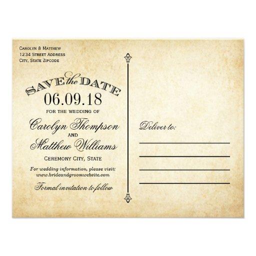 Vintage Wedding Save the Date | Elegant Flourish Personalized Invites (back side)