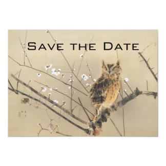 "Vintage Wedding Save the Date, Japanese Owl 5"" X 7"" Invitation Card"