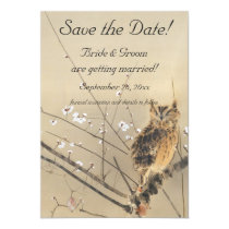 Vintage Wedding Save the Date, Japanese Owl Magnetic Card