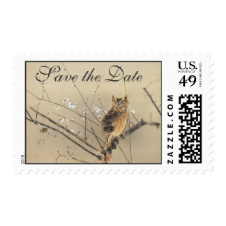 Vintage Wedding Save the Date, Japanese Owl Postage Stamps
