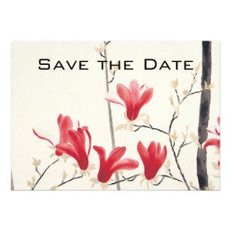 Vintage Wedding Save the Date Magnolia Tree Card