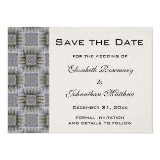 Vintage Wedding Save the Date, Metallic Squares 5.5x7.5 Paper Invitation Card