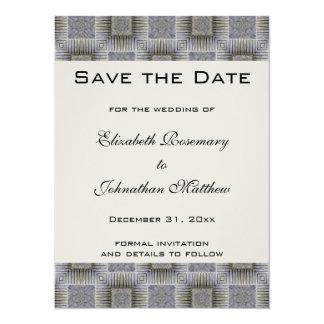"Vintage Wedding Save the Date, Metallic Squares 5.5"" X 7.5"" Invitation Card"