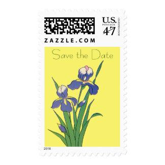 Vintage Wedding Save the Date, Purple Iris Flowers Postage Stamp