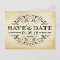 Vintage Wedding Save the Date | Swirl and Flourish Announcement Postcard