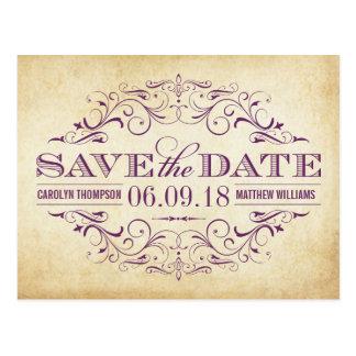 Vintage Wedding Save the Date | Swirl and Flourish Postcards