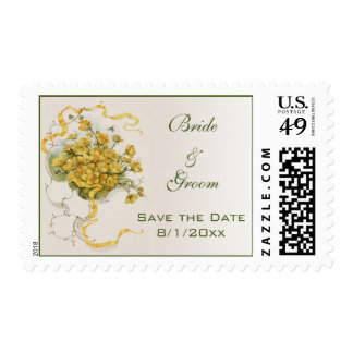 Vintage Wedding Save the Date, Yellow Flowers Bees Postage Stamps