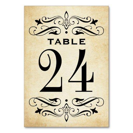 Vintage Wedding Table Cards