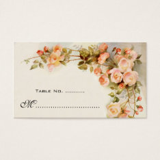 Vintage Wedding Table Number, Antique Rose Flowers Business Card at Zazzle
