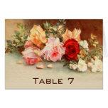 Vintage Wedding Table Number Antique Roses Flowers Card