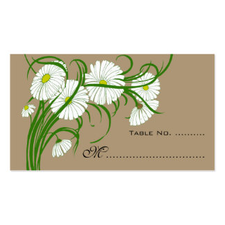 Vintage Wedding Table Numbers Gerber Daisy Flowers Double-Sided Standard Business Cards (Pack Of 100)