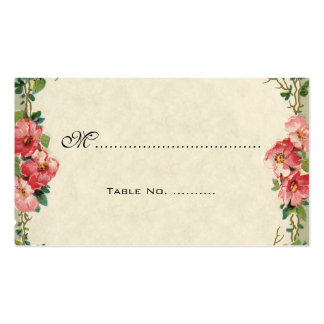 Vintage Wedding Table Numbers, Pink Rose Flowers Double-Sided Standard Business Cards (Pack Of 100)