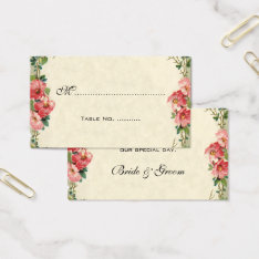 Vintage Wedding Table Numbers, Pink Rose Flowers Business Card at Zazzle