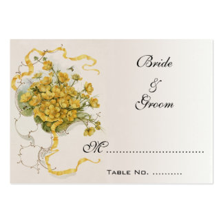 Vintage Wedding Table Numbers, Yellow Flowers Bees Large Business Cards (Pack Of 100)