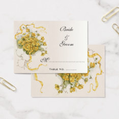 Vintage Wedding Table Numbers, Yellow Flowers Bees Business Card at Zazzle