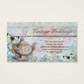 Vintage Wedding Teapot Roses Antique Butterflies Business Card