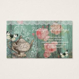 Vintage Wedding Teapot Roses Green Butterflies Business Card