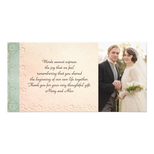 Vintage Wedding Thank You Card Photo Card Template